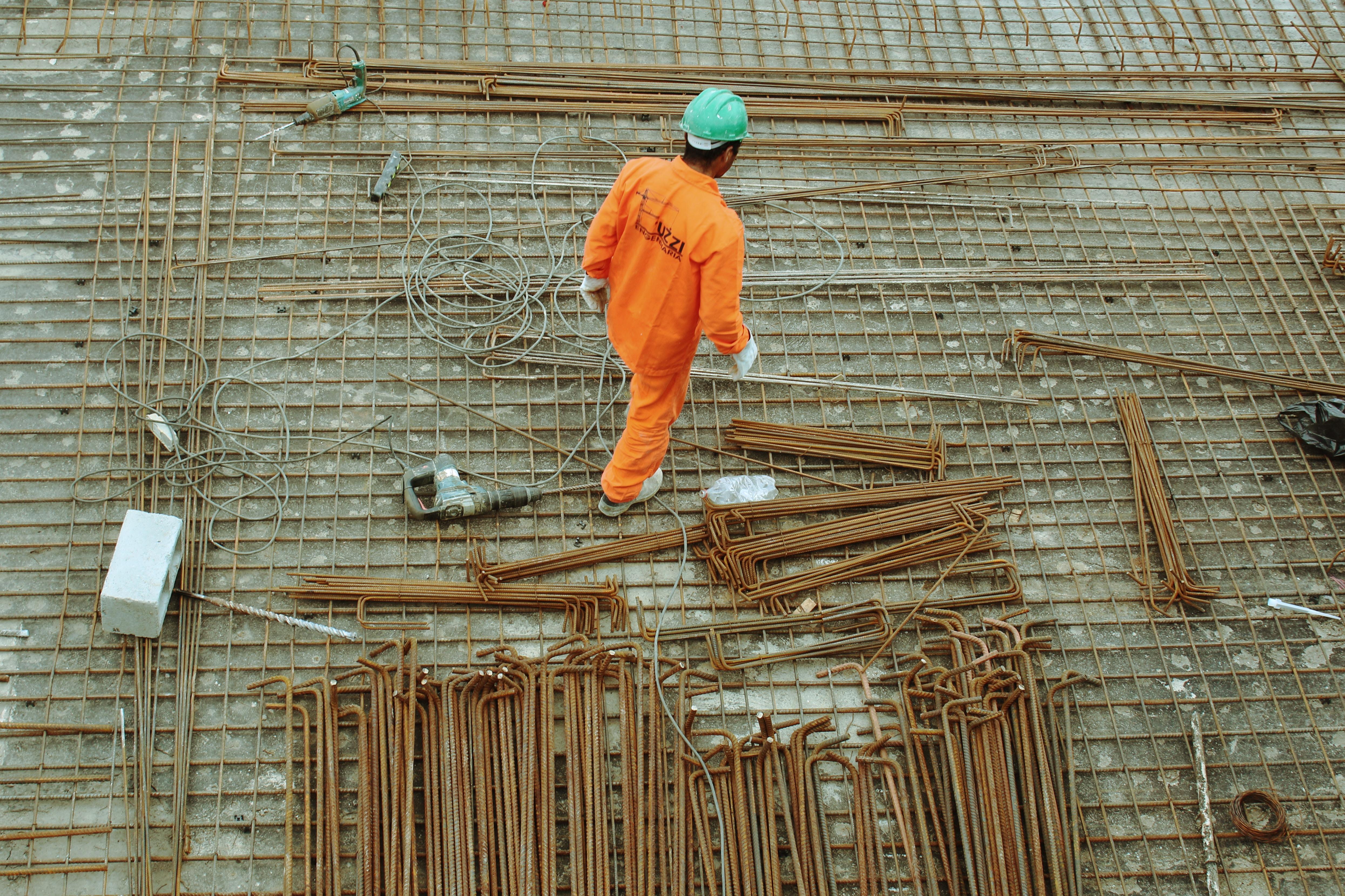 louvrier de chantier avec tige de fer